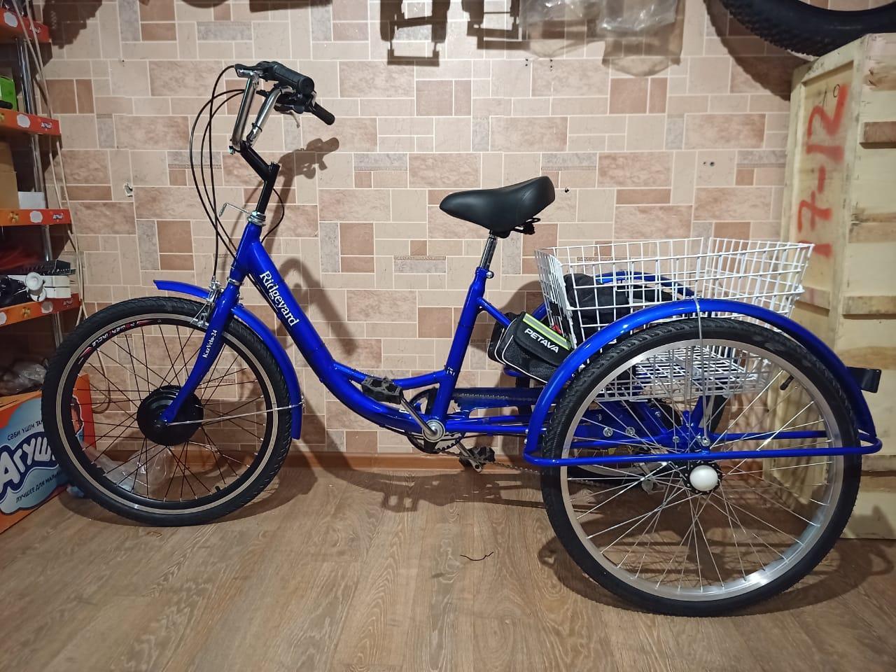 """48v 350w, аккум. Li-ion 48v 30A/H. Электровелосипед трехколесный. Вес 30 Кг. Колеса 24""""."""