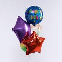 Букет из шаров 'С днём рождения. Звезды', фольга, латекс, набор 5 шт.