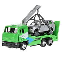 Набор машинок КАМАЗ эвакуатор и Toyota Land Cruiser, Технопарк