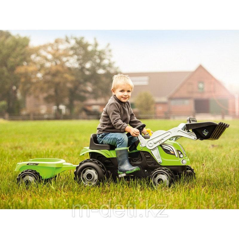ТРАКТОР FARMER MAX + ПРИЦЕП Зеленый трактор педальный с одним ковшом и прицепом 710709  Смуби SMOBY
