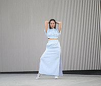 Льняная юбка на резинке с разрезами