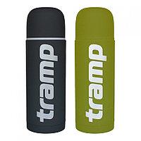 Термос Tramp Soft Touch 1,0 л, зеленый/серый, 2 стакана, держит сутки.