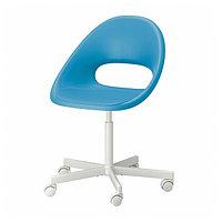 Рабочий стул ЛОБЕРГЕТ / БЛИСКЭР синий/белый ИКЕА, IKEA