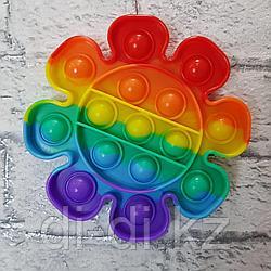 Pop it Fidget Сенсорная игрушка антистресс Вечная пупырка, цветок радужный
