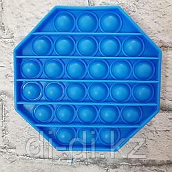 Pop it Fidget Сенсорная игрушка антистресс Вечная пупырка, восьмиугольник синий