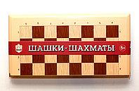 Настольная игра 2 в 1 «Шашки-Шахматы» большие (бежевые), фото 1
