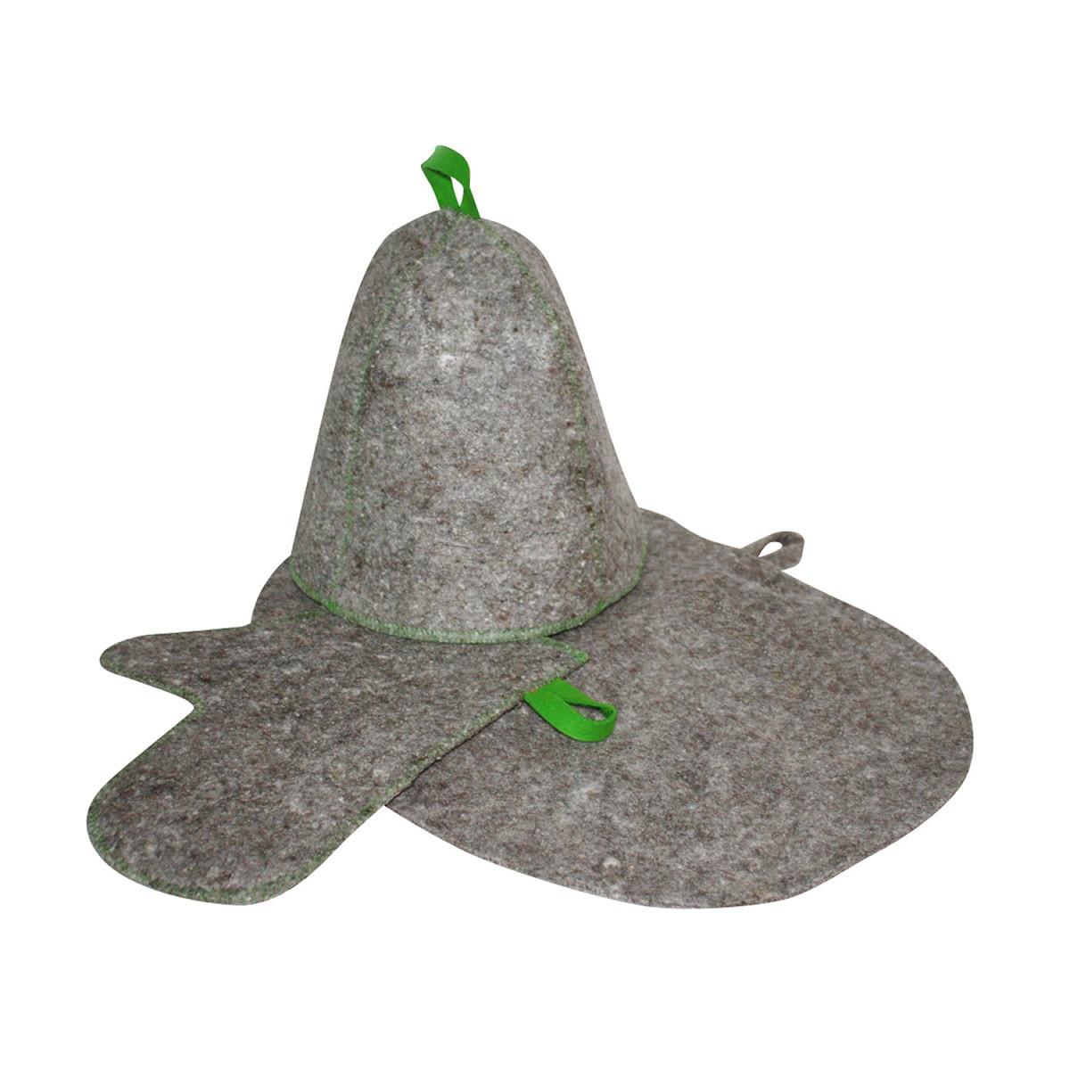Комплект банный (шапка, рукавица, коврик), войлок серый