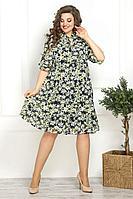 Женское осеннее шифоновое большого размера платье Solomeya Lux 800 разноцветные_ромашки 54р.