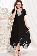 Женское летнее льняное черное нарядное большого размера платье Vittoria Queen 14073 черный 66р.