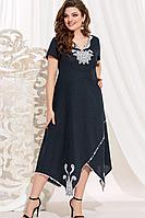 Женское летнее льняное синее нарядное большого размера платье Vittoria Queen 14073/1 синий 52р.