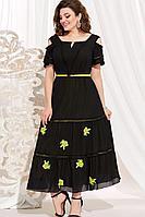 Женское летнее черное большого размера платье Vittoria Queen 13683 черный 48р.