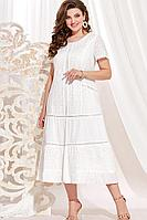Женское осеннее хлопковое белое нарядное большого размера платье Vittoria Queen 13903 белый 56р.