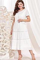 Женское осеннее хлопковое белое нарядное большого размера платье Vittoria Queen 13903 белый 58р.
