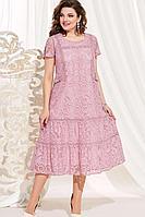 Женское осеннее хлопковое розовое нарядное большого размера платье Vittoria Queen 13923 розовый 52р.