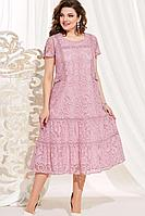 Женское осеннее хлопковое розовое нарядное большого размера платье Vittoria Queen 13923 розовый 56р.