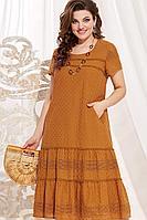 Женское летнее хлопковое коричневое нарядное большого размера платье Vittoria Queen 12953/2 карамель 62р.