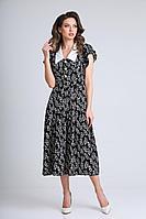Женское осеннее шифоновое черное платье SandyNa 13933 черный_веточки 52р.