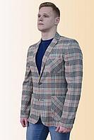 Мужская осенняя льняная серая большого размера пиджак DOMINION 4390D 6C20-P49 176 светло-серый 46р.