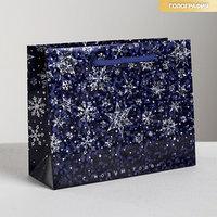 Пакет голографический горизонтальный 'С Новым годом!', S 15 x 12 x 5.5 см (комплект из 3 шт.)