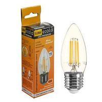 Лампа светодиодная филаментная Ecola Premium 'свеча', 5 Вт, Е27, 2700 К, 360, 220 В, 96х37