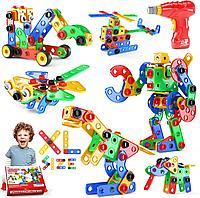Конструктор детский с дрелью 168 деталей, фото 1