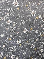 Красивая скатерть клеенка для стола с цветами на синем фоне метражом