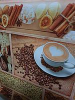 Красивая скатерть клеенка для стола с кофе, шоколад булочки чаепитие