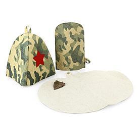 """Набор для бани """"Камуфляж"""" (шапка, рукавица, коврик)"""