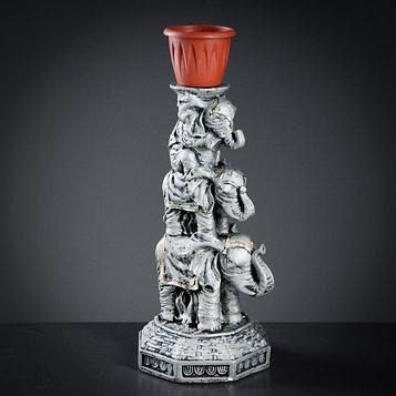 """Фигура с кашпо """"Три слона"""" серебро, 26×24×59см"""