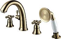 Смеситель для ванны и душа LEMARK Vintage LM2841B встраиваемый на борт ванны, 4 отверстия, бронза