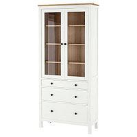 Шкаф-витрина ХЕМНЭС белая морилка/светло-коричневый 90x197 см ИКЕА, IKEA