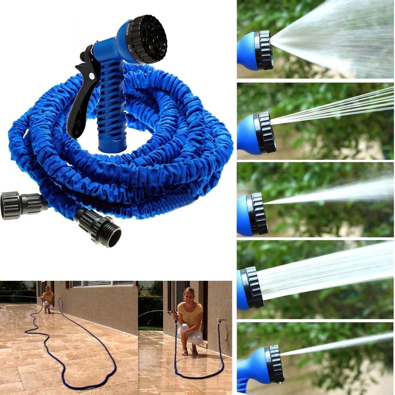 Шланг Magic-hose 45 метров, садовый, растягивающийся для полива с распылителе.
