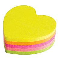 Стикеры цветные клейкие неоновые 350 листов 1 цвет 70 листов сердечки