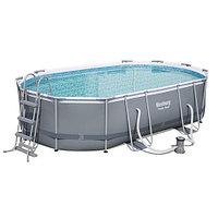 Каркасный бассейн Bestway 56448 Power Steel (488х305х107 см) с картриджным фильтром, лестницей и защитным, фото 1