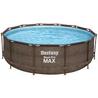 Каркасный бассейн Bestway Ротанг 56709 (366х100 см) с картриджным фильтром и лестницей, фото 1