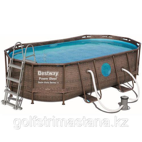 Каркасный бассейн Bestway Ротанг 56714 (427х250х100 см) с картриджным фильтром, лестницей и защитным тентом