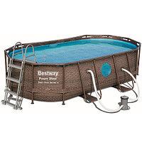 Каркасный бассейн Bestway Ротанг 56714 (427х250х100 см) с картриджным фильтром, лестницей и защитным тентом, фото 1