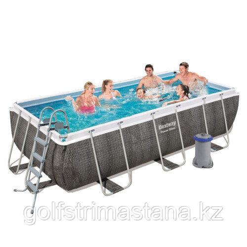 Каркасный бассейн Bestway 56996 (488х244х122 см) с картриджным фильтром, лестницей и защитным тентом