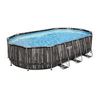 Каркасный бассейн Bestway Wood Style 5611R (610х366х122 см) с картриджным фильтром, лестницей и тентом, фото 1