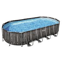 Каркасный бассейн Bestway Wood Style 5611T (732х366х122 см) с картриджным фильтром, лестницей и тентом, фото 1