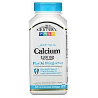 Жидкий кальций с витамином D3, 1200 мг, 90 мягких таблеток с быстрым высвобождением