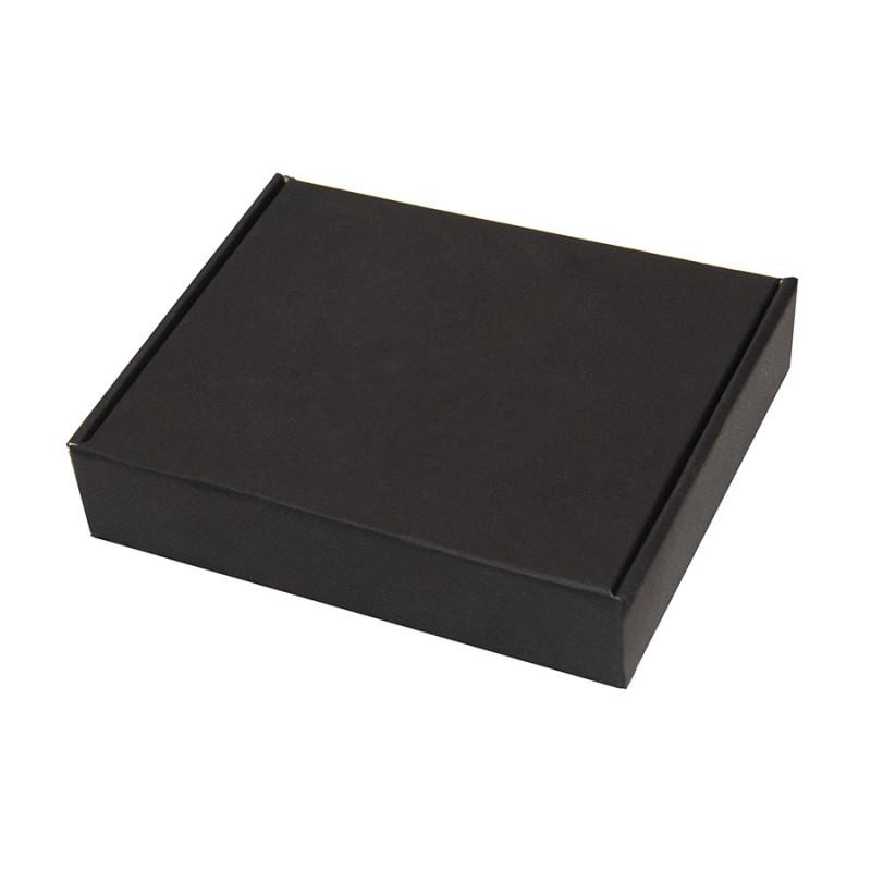 Коробка подарочная, внешний размер 18,5х14,5х3,8см, картон, самосборная, черная, черный, , 21025 - фото 1