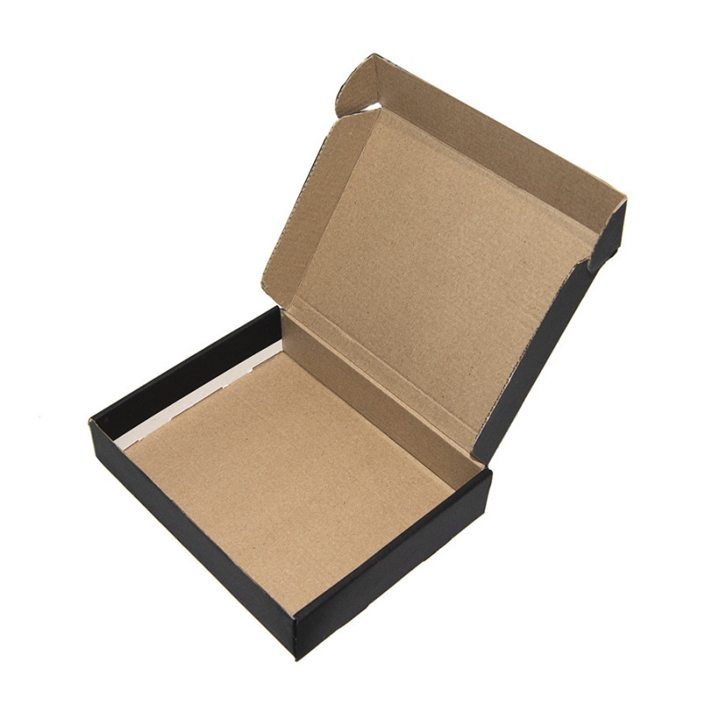 Коробка подарочная, внешний размер 18,5х14,5х3,8см, картон, самосборная, черная, черный, , 21025 - фото 2