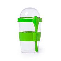 Контейнер для еды YOPLAT с ложкой, пластик, Зеленый, -, 345572 15