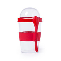 Контейнер для еды YOPLAT с ложкой, пластик, Красный, -, 345572 08