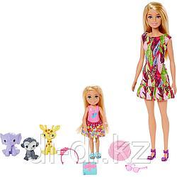 Mattel Barbie Игровой Набор кукла Барби и Челси с питомцами жираф, слон и обезьянка GTM82