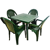 Садовый стол с 4 стульями Ddstyle зеленые