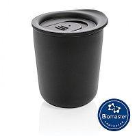 Термокружка для кофе с защитой от микробов, черный, Длина 9,2 см., ширина 8,5 см., высота 10,6 см., диаметр