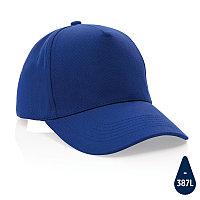 Бейсболка Impact из переработанного хлопка AWARE™, 5 клиньев, 280 г/м2, синий, , высота 12 см., диаметр 18,5
