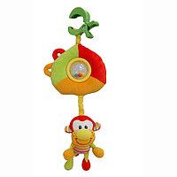 I-BABY Развивающая игрушка подвеска ОБЕЗЬЯНКИ на клипсе 30*30см